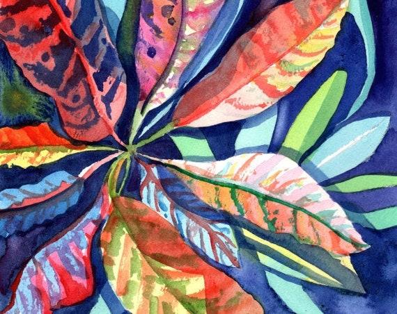 Croton Plant Original Watercolor Painting, Hawaii Wall Art, Tropical Plant, Hawaii Gift, Made in Hawaii, Kauai Original Paintings, Oahu Maui