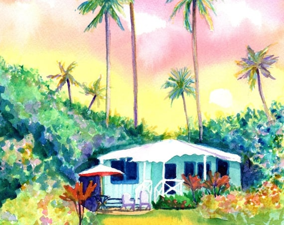 Kauai Aqua Cottage Original Watercolor Painting from Hawaii Hawaiian Marionette Taboniar plantation cottages whimsical tropical art sunset