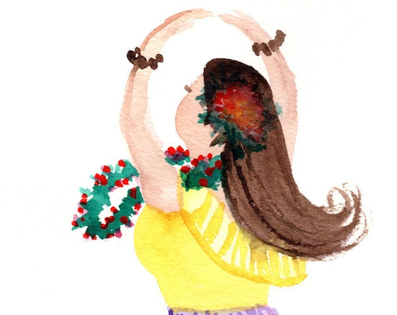 Hula Dancer Watercolor, Hawaii Decor, Hula Art, Hula Girl, Hula Painting,  Kauai Art, Kalea, Hula Gifts, Hawaiian Art, Made in Hawaii
