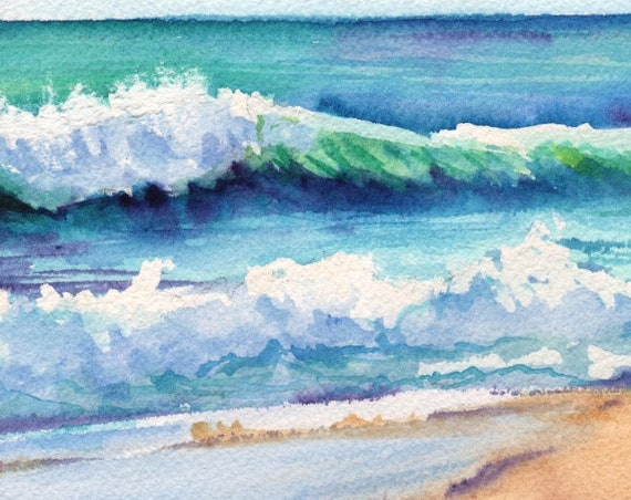 Ocean Waves of Kauai Art Print from Kauai Hawaii teal turquoise blue sand Hawaiian decor Hawaii wall art ocean paintings