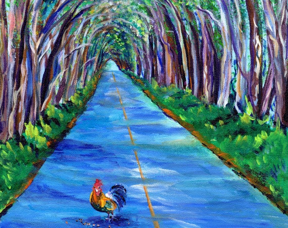 Kauai Tree Tunnel with Rooster Fine Art Print from Kauai Hawaii Hawaiian Art Kauai Decor Chicken Kitchen Wall Art