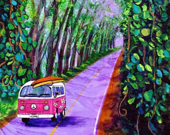 Cruising the Kauai Tree Tunnel, Kauai Art Print, Tree Tunnel Painting, Kauai Wall Art, Hawaiian Art, Koloa Tunnel, Surfing, Surfboard