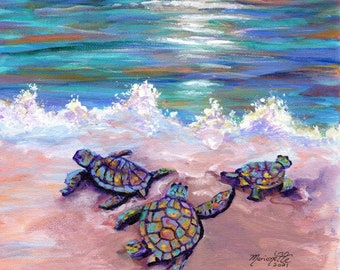 Baby Sea Turtles, Kauai Painting, Kauai Wall Art, Kauai Decor, Hawaiian Art, Sunset, Ocean Life, Honu, Baby Sea Turtle Print