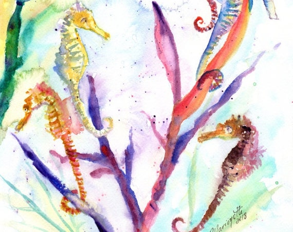 Seahorse Painting, Seahorse Print, Seahorse Art, Under the Sea, Kids Room Art, Whimsical Seahorses, Seahorse Decor, Seahorse Art Print