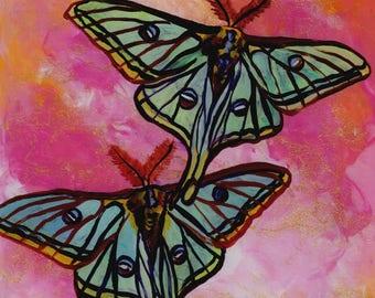 Luna Moths Painting, Original Reverse Acrylic Art, Butterfly Paintings, Green Moth, Children's Art, Whimsical Kids Wall Art