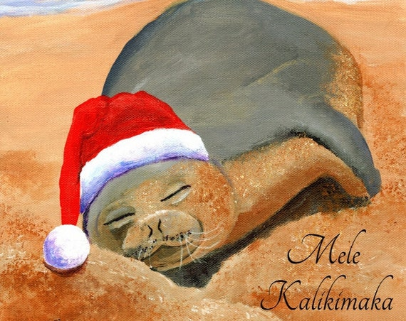 Hawaiian Christmas Card, Mele Kalikimaka, Hawaiian Monk Seal, DIY Christmas cards,  Hawaii Christmas, Xmas Card, Christmas PDF, Printable