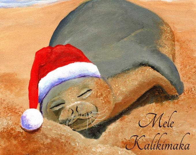 Hawaiian Christmas Card, Mele Kalikimaka, Hawaiian Monk Seal, DIY Christmas cards,  Hawaii Christmas, Xmas Card, Christmas PDF, Printable