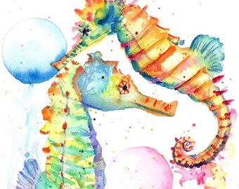 seahorse original watercolor, seahorses paintings, nursery art, kids art, baby's room,  original watercolors,  ocean life under the sea