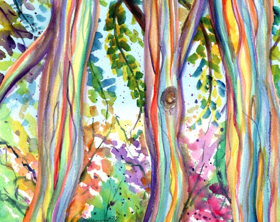 Rainbow Eucalyptus Tree, Forest, Colorful Tree, Hawaiian Trees, Kauai Art, Hawaii Wall Decor, Hawaii Paintings, Tropical Wall Art