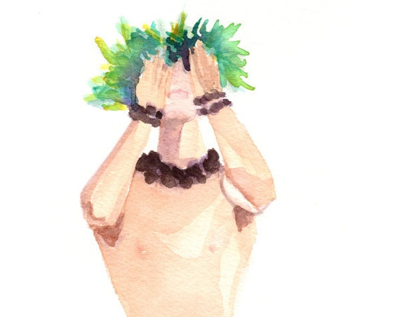 Hawaiian Hula Watercolor Print, Hula Art, Male Hula Dancer, Kane Kahiko, Hawaii Decor, Hawaii Art, Hawaiian Painting, Man Hula Dancer
