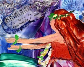 Hula Dancer Art, Hawaiian Hula Girl, Encaustic Painting, Painting with Wax, Hawaii Hula Painting, Hawaiian Lyrics, Hawaiian Decor