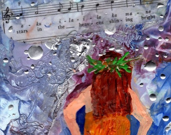 Hawaiian Hula Girl, Encaustic Art, Hawaii Hula Painting, Hawaiian Hula Art, Hula Dancer, Hawaiian Music, Hawaiian Culture Art