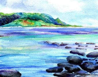 kauai art prints hanalei bay ocean beaches kauai north shore hawaiian paintings artwork giclee print kauaiartist marionette beach art