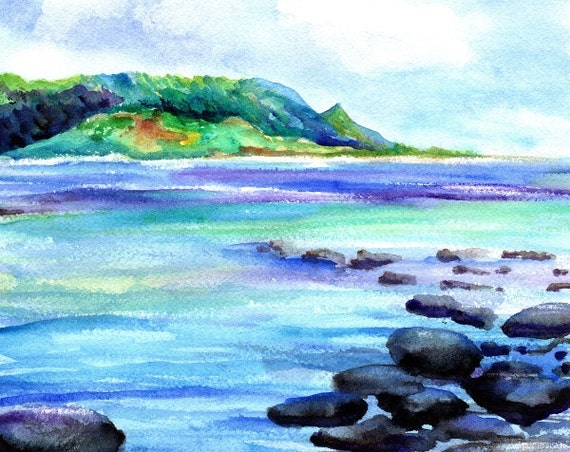 kauai art prints hanalei bay ocean beaches kauai north shore hawaiian paintings artwork giclee print kauaiartist marionette beach art