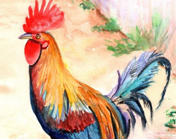 Rooster Art, Rooster Painting, Rooster Print, Kauai Roosters, Chickens Roosters, Chicken Paintings, Kauai Art, Kitchen Decor
