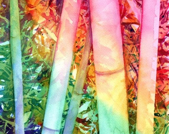 bamboo original watercolor painting kauai rainbow bamboo asian inspired art oriental paintings colorful tropical hawaiian paintings kauaiart
