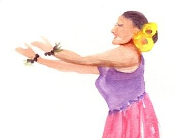 Hula Dance Watercolor,  Hula Girl Painting, Hula Art, Watercolor People, Hawaii Decor, Hawaii Art, Hawaii Watercolors, Hawaiian Hula Dancer