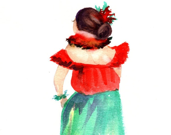 Mele Kalikimaka Hula Girl, Hula Art, Hula Print, Hula Dancer Painting, Hawaiian Decor, Hawaii Art, Hawaii Wall Art, Christmas Hula Art