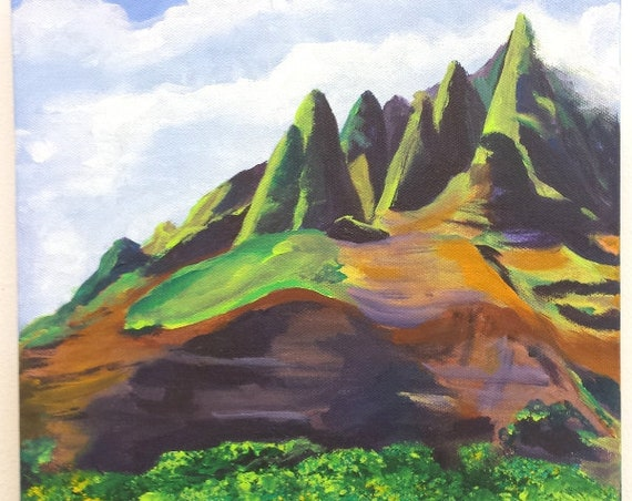 Kauai Na Pali Acrylic Painting from Kauai Hawaii Cliffs Mountains Hawaiian Art  Na Pali Coast State Park Kauai Interior Design Decor