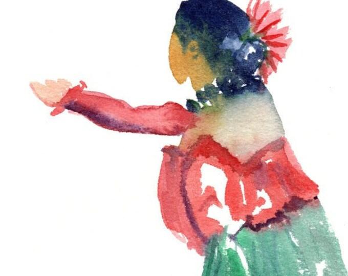 Original Hula Watercolor,  Hula Girl Painting,  Hula Dance,  Modern Hula, Hula Auana, Hawaii Decor, Hawaii Art, Hawaii Watercolor Paintings