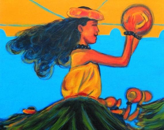 Hula Girls, Hula Art, Hula Paintings, Hula print, Hawaiian Paintings, Hawaii art, Hawaiian art, Kauai art, Hawaii print, Aloha art