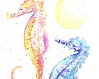 seahorses original watercolor, seahorse paintings, nursery art, childrens art, baby's room,  original watercolors,  ocean life under the sea