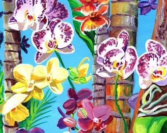 Orchid art print, orchid painting, tropical flower art, hawaii decor, hawaiian wall art, housewarming gift, orchids on palm trees