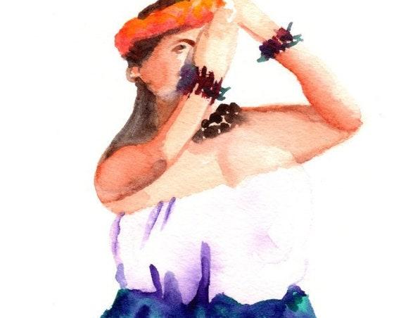 Hula Dancer Watercolor, Original Hula Art, Hula Girl Painting, Hawaii Decor, Hawaii Art, Hawaii Watercolor Paintings, Hawaiian Hula Dance