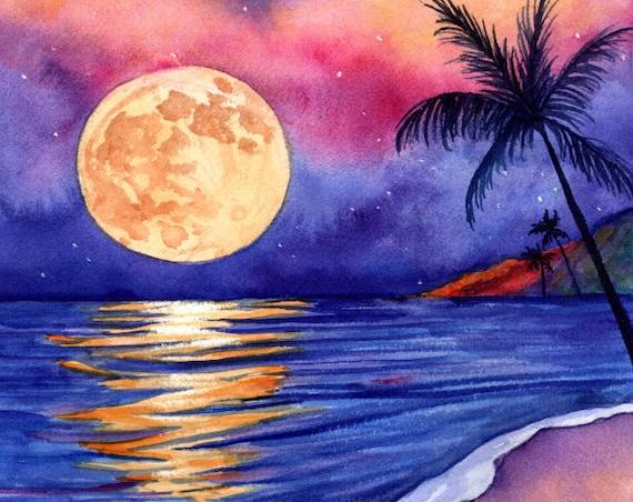 Harvest Moon Over Kauai Art Print by Kauai Artist Marionette Taboniar Kauai Seascape Hawaiian Moon Palm Trees Hawaii Moon Painting