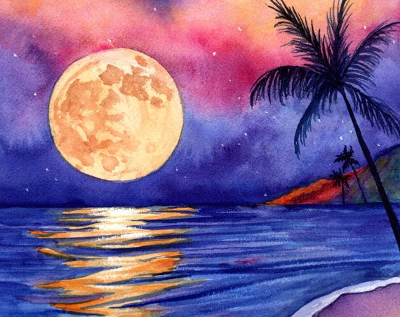 Harvest Moon Art, Kauai Moon, Hawaii Moon, Beach Art, Hawaii Decor, Hawaiian Halloween, Beach Halloween, Full Moon Rising, Seascape Moon