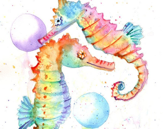 Rainbow Seahorses Original Watercolor Painting Seahorse Sealife Ocean Life Nursery Decor Hawaii Kauai Oahu Maui Kids Room Art Sea Horse
