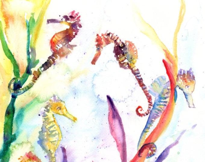 seahorse painting, watercolor sea horse , sea life watercolor,  original watercolor,  ocean art, kids art, kids room, waikiki aquarium