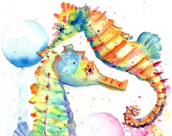 Seahorse Decor, Seahorse Print, Seahorse Watercolor,  Hawaii art, sea horse painting, ocean art, under the sea, kids room art, ocean life