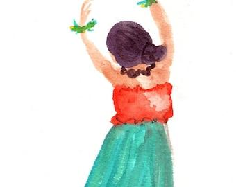 Hula Girl Watercolor,  Original Watercolor Painting,  Hula Dance Watercolor,  Modern Hula, Hula Auana, Hawaii Decor, Hawaii Art