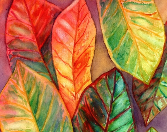 Croton Plant, Tropical Art, Original Watercolor Painting, Hawaii art, Kauai art, Hawaiian painting, colorful leaves, tropical watercolors
