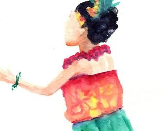 Hula Dancer Hula Watercolor Original Hula Girl Painting Modern Hula Art Hawaii Decor Hawaii Art Hawaii Watercolor Paintings Maui Oahu Aloha
