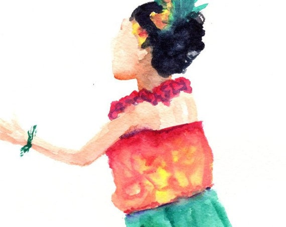 Hula Dancer Hula Watercolor Original Hula Girl Painting Modern Hula Art Hawaii Decor Hawaii Art Hawaii Watercolor Paintings Maui Oahu Aloha