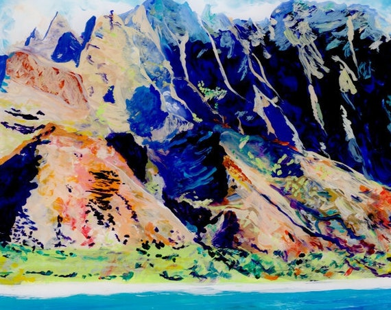 Kauai landscape art, Kauai mountains, Kauai Na Pali Coast, square art print, Kauai by boat, Kauai seascape painting, Kauai art, Kauai prints