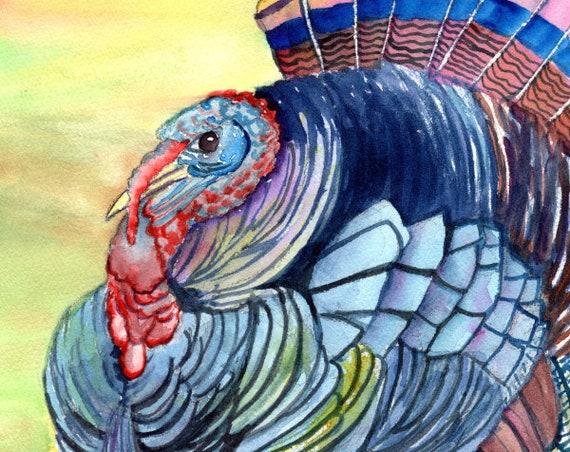 Thanksgiving Turkey, Original Watercolor Paintings, Turkey Decor, Kitchen Decor, Barnyard Birds, Domestic Turkey, Fowl, Thanksgiving Gifts