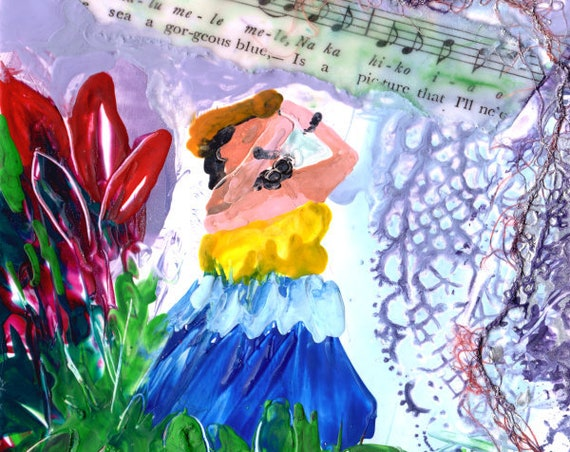 Hula Dancer, Hula Print,  Hula Decor, Hawaiian Hula Art, Hula Paintings, Hawaiian Language, Music Lyrics, Encaustic Art Print, Hawaii Art