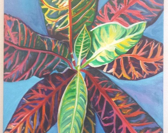Tropical Leaves, Croton Art, Croton Painting, Hawaii Leaves, Original Acrylic Paintings, Croton Plant, Tropical Art