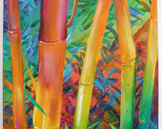 Bamboo Artwork, Bamboo Plant, Bamboo Original Art, Bamboo Painting, Hawaii Art, Japan Bamboo, Hawaiian Decor, Bamboo Acrylic Paintings