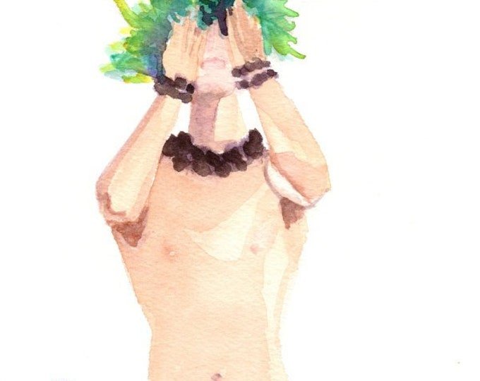 Hawaiian Hula Watercolor, Original Hula Art, Male Hula Dancer, Kane Kahiko, Hawaii Decor, Hawaii Art, Hawaii Watercolor Paintings, Men Hula