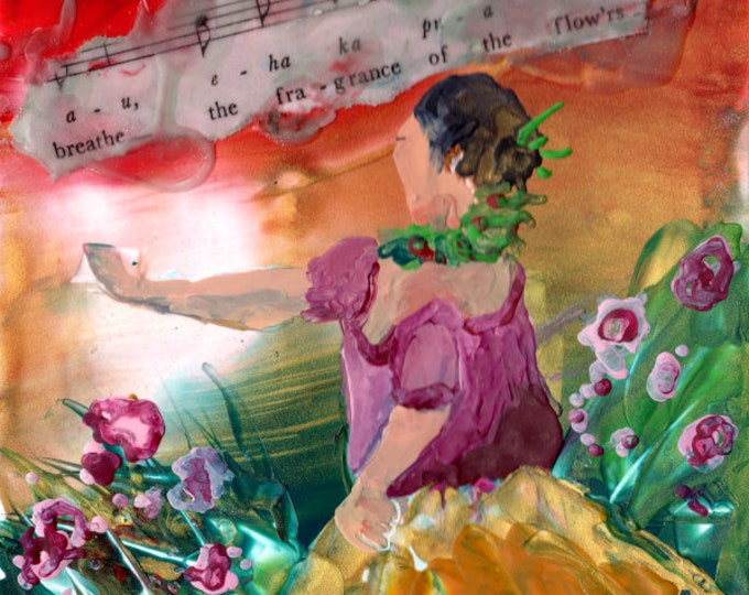Hawaiian Hula Dancer, Hula Girl Painting, Encaustic Painting Original, Hawaiian decor, Hawaii Art, song lyric art, Hawaiian Painting