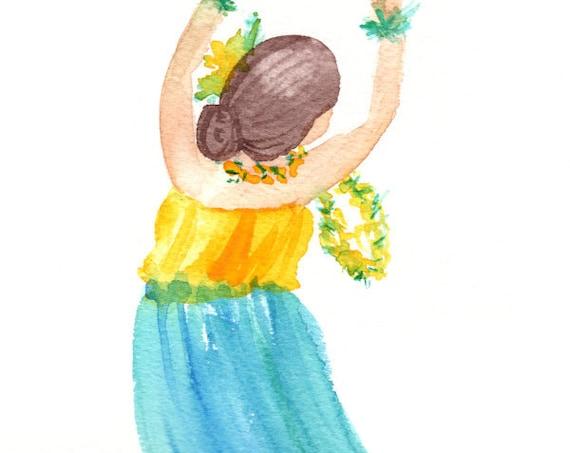Hula Watercolor, Hawaii Decor, Hula Art, Kauai Art, Hula Girl, Hula Gifts, Hula Painting, Polynesian, Kuuipo, Hawaiian Art, Made in Hawaii