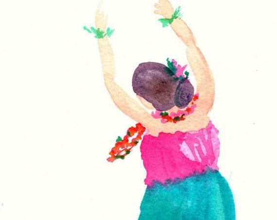 Hula Girl Watercolor, Hula Art, Hawaii Decor, Hawaii Art, Hula Gifts, Hula Painting, Polynesia Art, Polynesian, Hawaiian Art, Hula Dancer