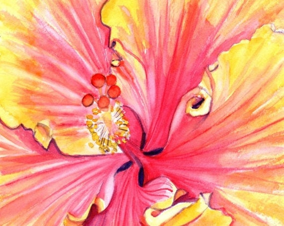 hibiscus paintings, hibiscus art print, hawaii art, hawaiian paintings, pink hibiscus, tropical flowers, Hawaii decor, maui art, oahu art