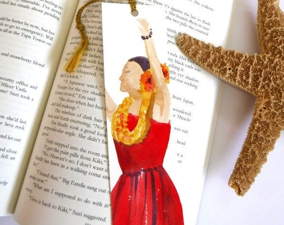 Hula Girl Bookmark, Watercolor Bookmark, Handmade Bookmarks, Book Lover, Hula Halau Gift, unique bookmark, book marker, summer reads, aloha
