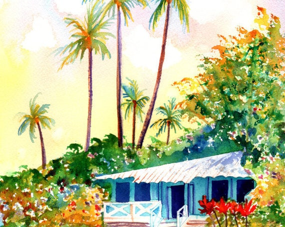 Hawaiian Vacation Cottage,  Original Watercolor Painting, plantation cottage, cottage decor, tropical house art, Hawaii decor, Hawaiian Art
