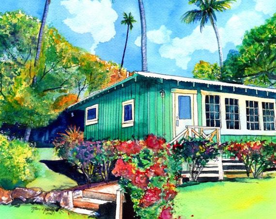 Kauai Plantation Cottage, Kauai art, Hawaii art, Hawaiian artwork, Kauai painting, Green House, Tropical Cottage,  Hawaiian Vacation